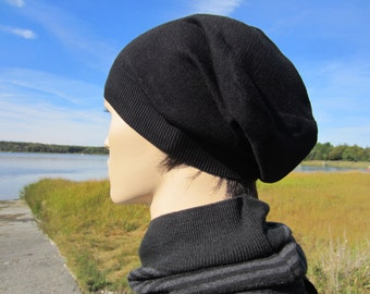 Cashmere Black Slouchy Beanie Hat for Men Cashmere Cotton Closed or Leather Tie Back Tam A49
