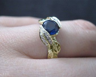 Sapphire Leaf Engagement Ring, Leaf Sapphire Engagement Ring, Diamond Leaf Ring & Lab Blue Sapphire, Natural Floral Leaves Engagement Ring