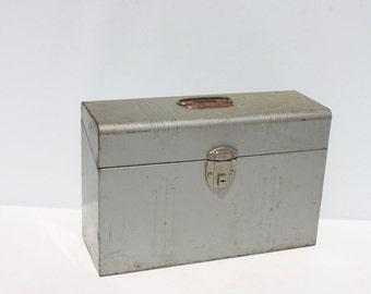 Vintage Metal Box File Industrial Storage Industrial Gray Large Industrial Decor