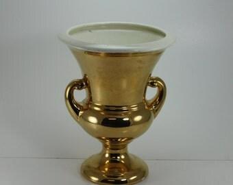 Vintage 22 Kt Gold Ceramic Vase Urn Loving Cup Haeger