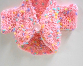 """American Girl Doll Sweater, Crocheted Shrug for 18"""" Dolls, Pink Shrug, Doll Clothes"""