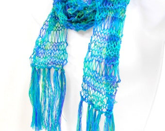 Turquoise Blues Knit Scarf, Long Fringed Scarf, Lightweight Lacy Scarves