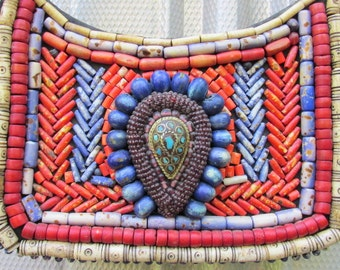 Vintage Tibetan Purse with Turquoise and Beading