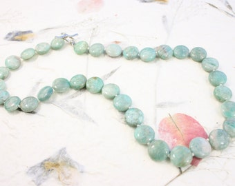 Amazonite Blue Gemstone Necklace hand knotted with silk and Sterling SIlver Clasp