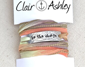 Wrap Bracelet, Inspirational, Inspiration Jewelry, Be The Change, Inspiration Bracelet, Yoga Bracelet, Silk Wrap Bracelet, Yoga Wrap