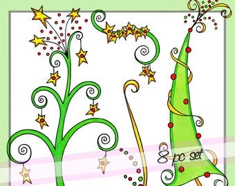 Modern Swirls Christmas Trees Downloadable Clip Art   Personal And Limited  Commercial Use
