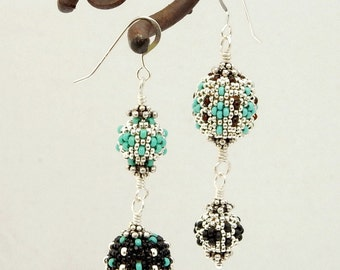 Asymmetrical Earrings - silver turquoise black beaded beads