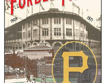 Forbes Field - Former home of the Pittsburgh Pirates Baseball Club  - Pittsburgh sports fan - Boys room or Man Cave sports decor