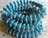 Glass Flowers, Maya Blue with Blue Picasso Finish, Czech Pressed Glass, Five Petal Bell, Opaque, 9mm x 6mm, Full Strand of 25