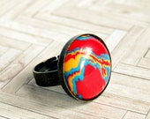 radio frequency stone and antique bronze adjustable cabochon ring, rainbow, hippie, colorful