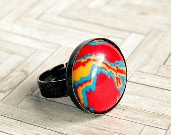 colorful cabochon ring, stone ring, fashion jewelry, gifts for her