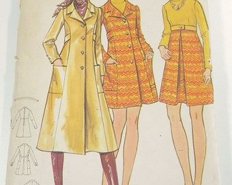 Vintage Sewing Pattern Butterick 5925 Misses 70s Era Dress & Coat