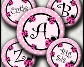INSTANT DOWNLOAD Cutie LadyBug Alphabet (096) 4x6 Digital Collage Bottle Cap Images  for bottlecaps hair bows .. bottlecap images