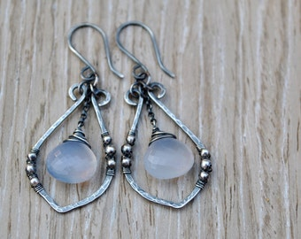 Blue Chalcedony Earrings, Hammered Artisan Silver Leaf Dangle Earrings, AAA Natural Holly Blue Chalcedony Dangles, Gemstone Leaf Earrings
