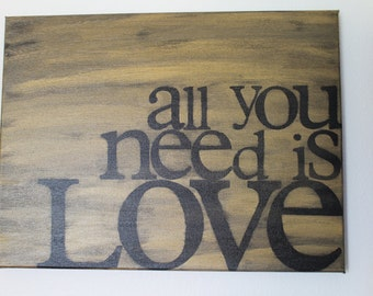 all you need is love - gold and black - 12x16 hand painted canvas sign