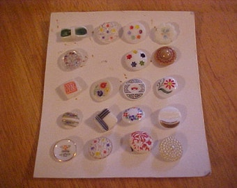 Vintage Set of 19 Molded and Handpainted Glass Buttons, All Shapes and Sizes