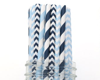 Paper Straws, Navy Blue Paper Straws, Light Blue Wedding Blue Baby Shower Kids Birthday Party Supplies Table Setting, Blue Paper Goods USA