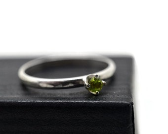Tiny Peridot Engagement Ring for Women, Shiny or Antiqued Finish, Minimalist Inscribed Simple Silver Band, Custom Engraved Jewelry