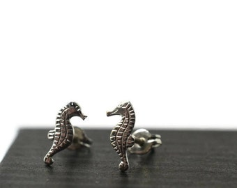 Seahorse Earrings, Silver Seahorse Studs, Sterling Silver Post Earrings, Ocean Animal Earrings, Animal Jewelry, Single or Pair, Charm Studs