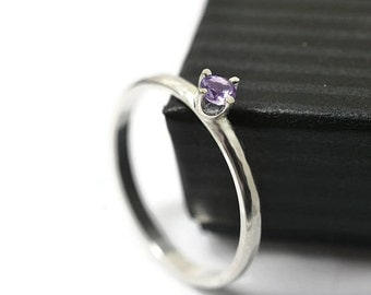 Dainty Amethyst Ring, Simple Engagement Ring, Claw Set Purple Gemstone Ring, Oxidized Silver Jewelry, Brazilian Amethyst Dress Ring,