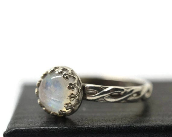 Celtic Moonstone Ring, Rainbow Moonstone Engagement Ring ...
