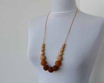 CLEARANCE SALE - Cotton Wooden Nursing Necklace, Crochet Necklace for mom and child,Teething Necklace - in brown, caramel and cream    E200