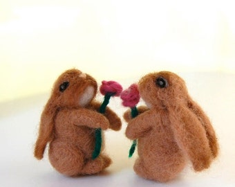 Baby Girl Nursery Decor. Flower Girl Gift. Felted Animals. Miniature Animal. Felted Rabbit. Felted Bunnies. Felted Toy. Woodland Animals