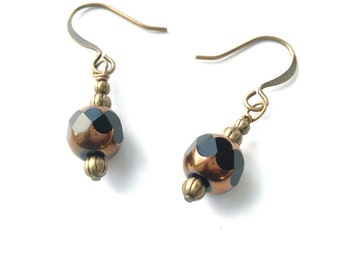 Black & Copper, Brass and Glass, Wire Wrapped Brass Bronze Antiqued Gold Dangle Earrings