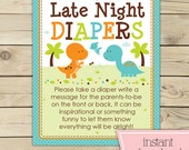 Dinosaur Baby Shower Late Night Diaper Game Printable - Diaper Thoughts - Instant Download - Boy Baby Shower Sign - Words for the Wee Hours