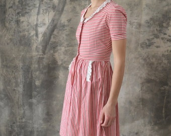 HOLD thru 7/3 ~~ 1940s Candy Stripe Red and White Dress size S