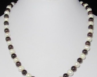 Necklace 19.5 inch  IN Pearl Garnet and 925 Silver