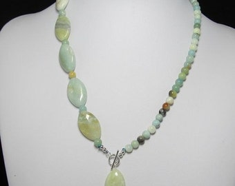 Necklace 19 inch  IN Amazonite and 925 Silver