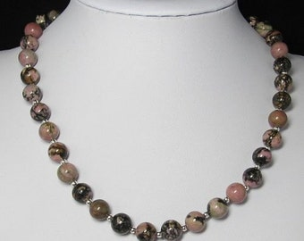 Necklace 19 inch  IN Rhodonite 10mm and 925 Silver