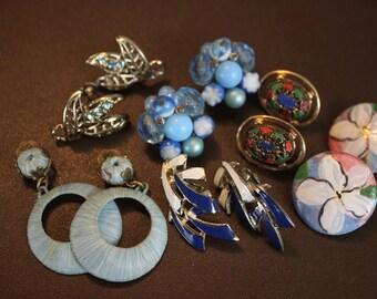 Vintage Blue Earrings - Mid Century Gold  Clip On Earrings  - Destash 6 Pairs