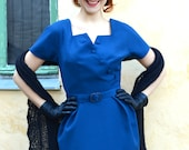 On Hold for Lorena SALE Petrol blue 50's style wool wiggle dress, size 10