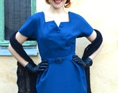 Petrol blue 50's style wool wiggle dress, made to order, sizes 0 to 14