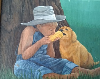 Corn Dog - Vintage Acrylic Painting - Little Country Boy and Pet Dog Sharing an Ear of Corn - Framed Original Art Signed by Artist