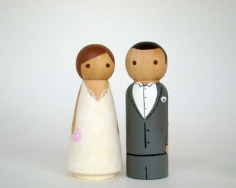 CustomPeg Doll  Wedding Cake Toppers - Hand Painted Wood Peg Cake Toppers