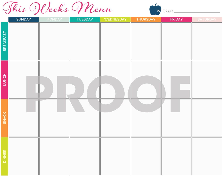Printable Meal Planner Calendar : Meal planning calendar printable instant download