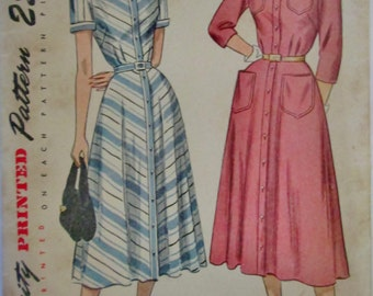 Simplicity 2362 Womens 40s One Piece Dress Dart Fitted Bodice Sewing Pattern Bust 36