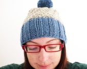 SALE Custom slouchy style knitted wooly winter bobble hat