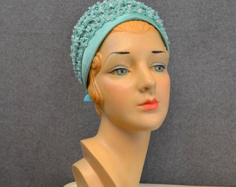 1960s Aqua Straw Bubble Hat