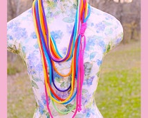 Gay Pride Scarf , Rainbow Infinity T- ShirtScarf Necklace, Up Cycle , 7 Vibrant Loops, Handmade By: Tranquilityy