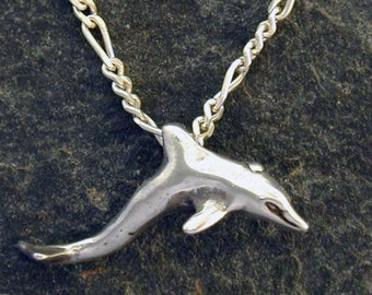 Sterling Silver Dolphin Porpoise Pendant on Sterling Silver Chain.