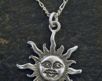 Sterling Silver Sun Pendant on a Sterling Silver Chain
