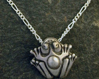 Sterling Silver Frog Pendant on a Sterling Silver Chain.