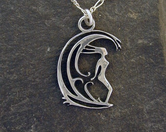 Sterling Silver Surfer Girl Pendant on a Sterling Silver Chain