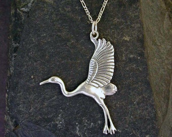 Sterling Silver Crane Pendant on a Sterling Silver Chain.