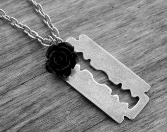 Silver Razorblade and Black Rose Necklace Razor Blade Jewelry Gothic Goth Punk Rock and Roll Rocker Rock n Roll Heavy Metal