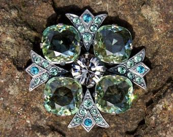 Sparkly Green and Blue Rhinestone Brooch